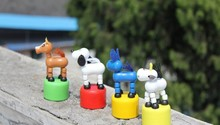 12pcs/lot baby anima wooden dolls toys/ Kids Child cartoon puppet Toys rocking animals for Christmas gifts , Free shipping