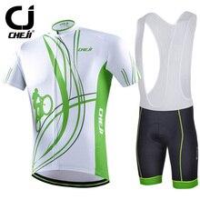 Cheji Brand 2016 Line Cycling Jerseys Short Sleeves Set Bike Clothing White Green