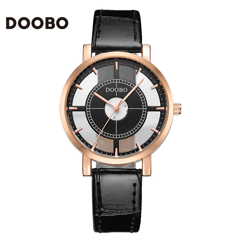 Doobo man women watch lovers wrist watches fashion normal waterproof relojes mujer pu leather strap relogio
