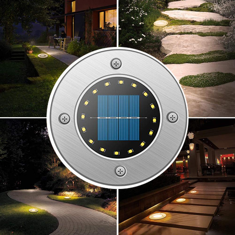 Outdoor Stainless Steel Solar Powered 16LED Waterproof Lawn Light Garden Lamp