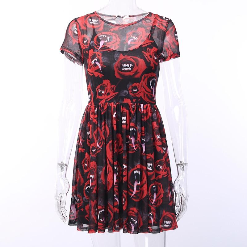 Spencers  USD 女性セクシーなドレスゴシックパンク黒赤ミニ半袖ワンピースプリントパッチワークパーティークラブ 7