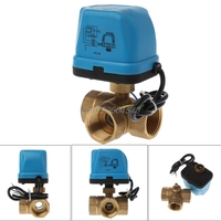 Electric Motorized Brass Ball Valve DN25 AC 220V 3 Way 3 Wire With Actuator R09 Drop