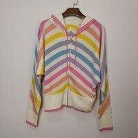100% кашемир KENVY бренд Мода женщин высокого класса люкс Радуга кашемир с капюшоном вязаный свитер кардиган пальто