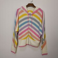 KENVY/брендовый Модный женский шикарный Радужный кашемировый вязаный свитер с капюшоном, пальто кардиган