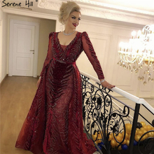 Wine Red Long Sleeves Evening Dresses 2019 Serene Hill