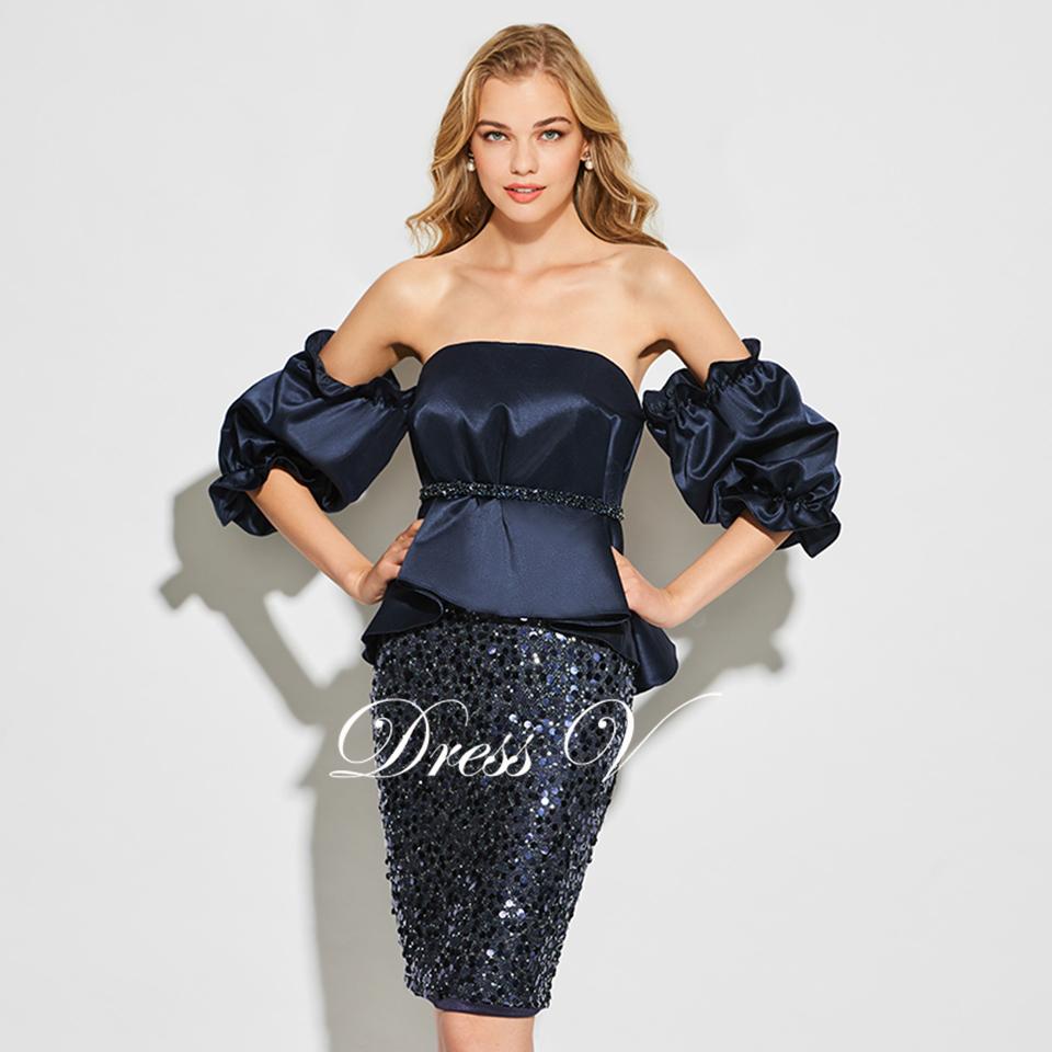 Dressv dark navy blau trägerlosen cocktailkleid langen ärmeln ...