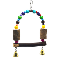 1 pcs Pet Bird Toys Parrot Wooden Climbing ladder Swing station Pole stand bar Chewing Toys Pets Birds Accessories Supplies 1 pcs birds stand swing wood sepak takraw bite swing standing bar for medium big parrot parrotlet chewing ball bird toy supplies