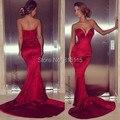 Sexy Low Cut querida vermelho Formfitting brilhante cetim sereia vestidos tribunal trem 2014 nova moda de vestido