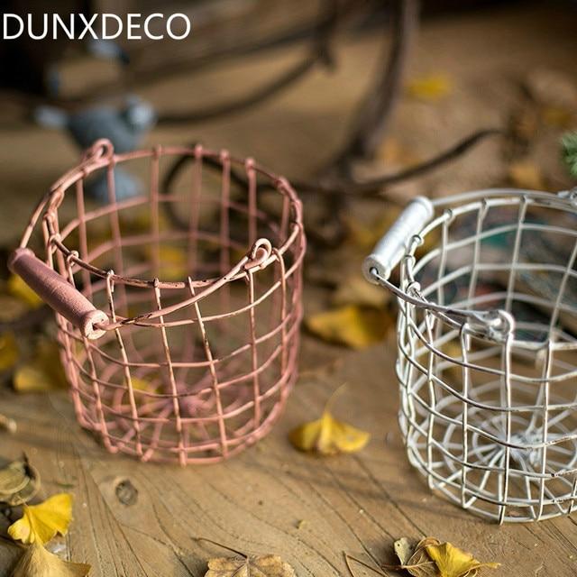 Dunxdeco современный розового цвета и цвета слоновой кости Лофт цилиндр Железная проволока чистая цветок корзина для хранения многофункциональным oragniser ремесло украшения дома подарок
