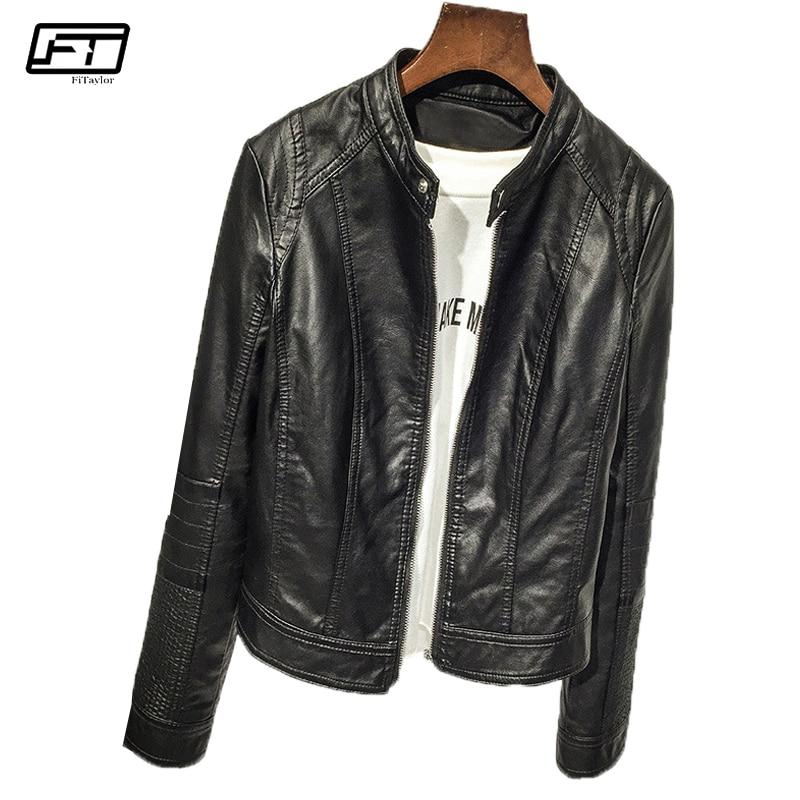 Fitaylor Spring Autumn Fashion Moto & Biker Pu Faux   Leather   Jackets Women Short Coat Mandarin Collar Zipper Black Jacket Female