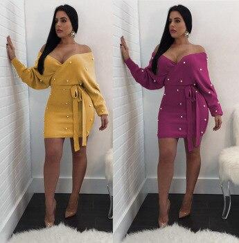 MIRSICAS Women's Dress Hot Sexy V Neck Off Shoulder Long Sleeve
