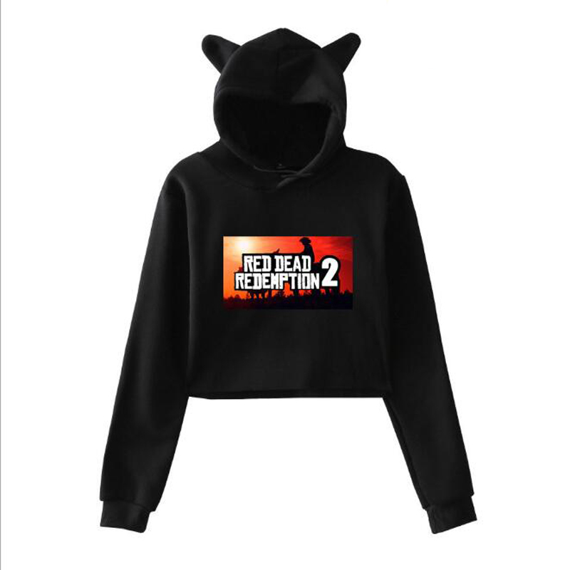 RED DEAD REDEMPTION 2 Long Sleeve Cropped Hoodies Sweatshirt Women Cat Hooded Pullover Crop Tops Clothes Girls Streetwear