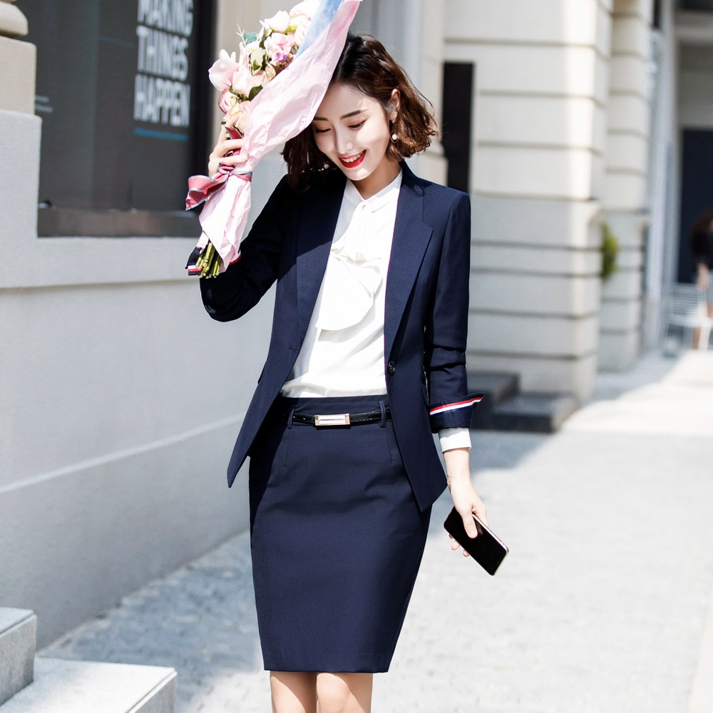 Woman Skirt Suit With Pockets Elegant Stripe Slim Fit Blazer+Skirt 2 Pieces Formal Career Skirt Suits Office Clothes Ow0520