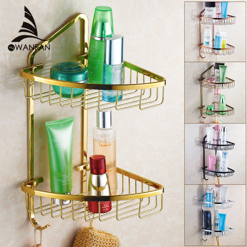 Bathroom Shelves 2 Tier Gold Brass Wall Shower Corner Shelf Bathroom Basket Holder Shampoo Storage Shelf Rack Towel Hooks HJ-827 bathroom accessory wall mounted 2 tier triangular shower caddy shelf bathroom corner rack storage basket hanger wba076