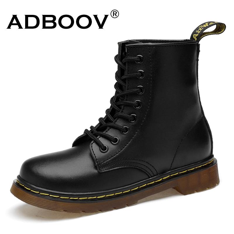 ADBOOV New PU Ankle Boots de Couro Mulheres Outono Inverno Sapatos de Plataforma Plana Plus Size 35-42 Martins Botas Zip botas de moto