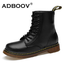 ADBOOV 새 PU Leather Ankle Boots Women Fall Winter Flat Platform Shoes Plus Size 35-42 마틴스 Boots Zip 오토바이 (China)