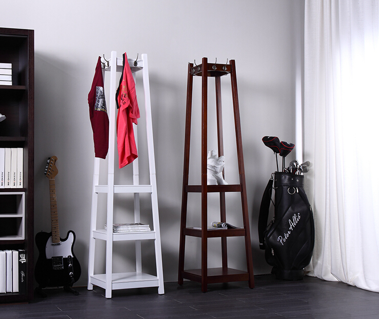 Online Shop Wood Coat Hanger Floor Coat Rack Bedroom Bedroom Floor - Bedroom clothes rack