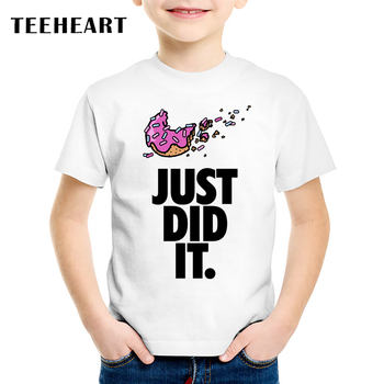 18M-10T Just Did It Donuts Print Modal t shirt Kids Food Pizza T-Shirts Children Baby Girls Clothing TA055