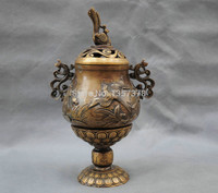 shitou 00801 12 China Censer Incense Burner Buddha Carve Phoenix Bird Bronze Statue