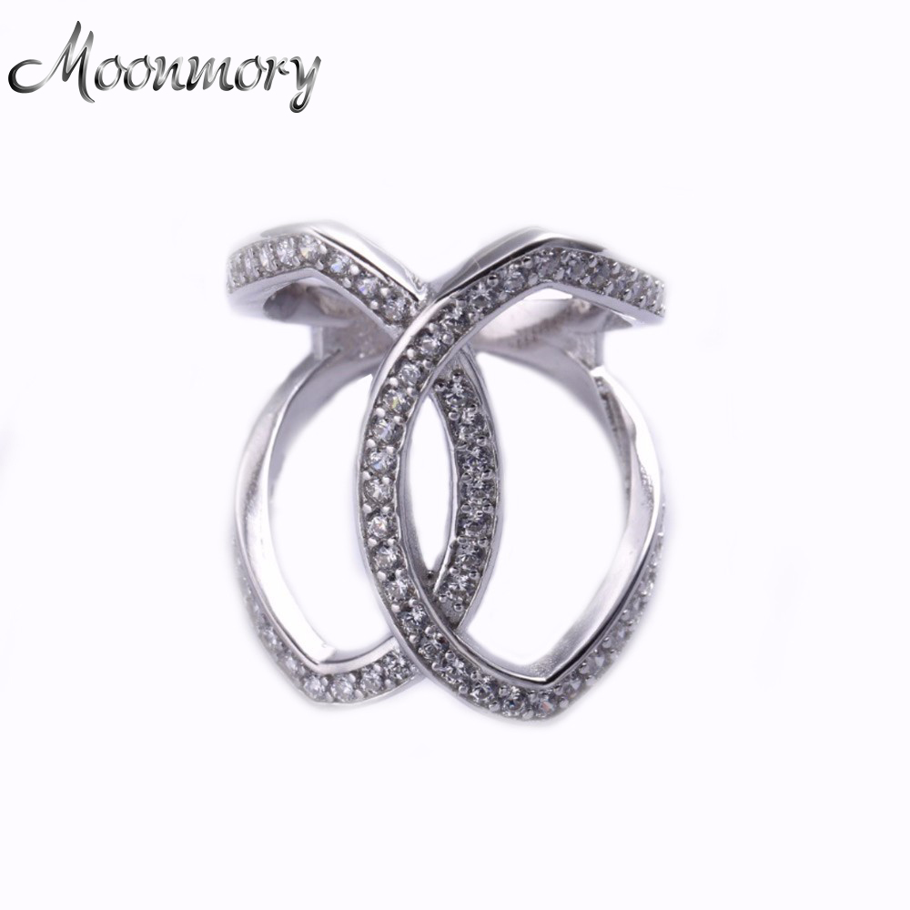 Moonmory 100%925-Sterling-Silver Double-Rings Romantic-Ring Clear-Zircon Wedding-Jewelry