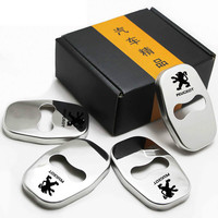 Stainless Steel Door Lock Cover Lock Protector Stickers Case For Peugeot 3008 2008 308 408 508