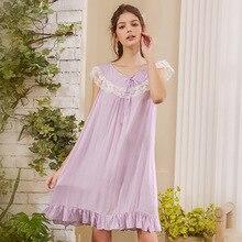 Roseheart Women Fashion Cotton Purple Sexy Sleepwear Nightdress Lace Bow Nightwear Sleepshirts Luxury Nightgown Female Gown