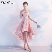 PotN Patio High Low Homecoming Dresses Pink Off The Shoulder Lace Prom Party Dresses 2017