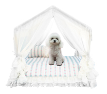 лучшая цена Exquisite pet room Summer dog tent Cool pet house Lace decoration Pet toy room Blue thick line pattern Underlay can be removed