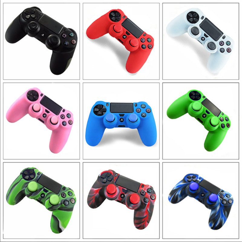 2 in 1 Soft Silicone Rubber Case Cover For Play Station Dualshock 4 PS4 DS4 Pro Slim Wireless Controller Skin + 2 grips