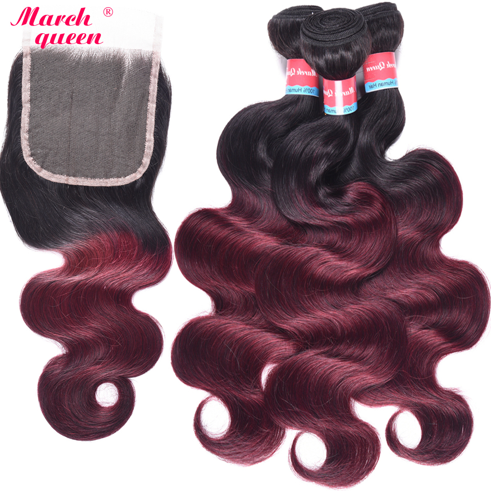 March Queen 3 Bundles Indian Hair Body Wave 2 Tone Ombre T1B/99J Human Hair Weave Extensions With 4X4 Lace Closure