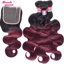 March Queen 3 Bundles Indian Hair Body Wave 2 Tone Ombre T1B/99J Human Hair Weave Extensions With 4X4 Lace Closure(China)