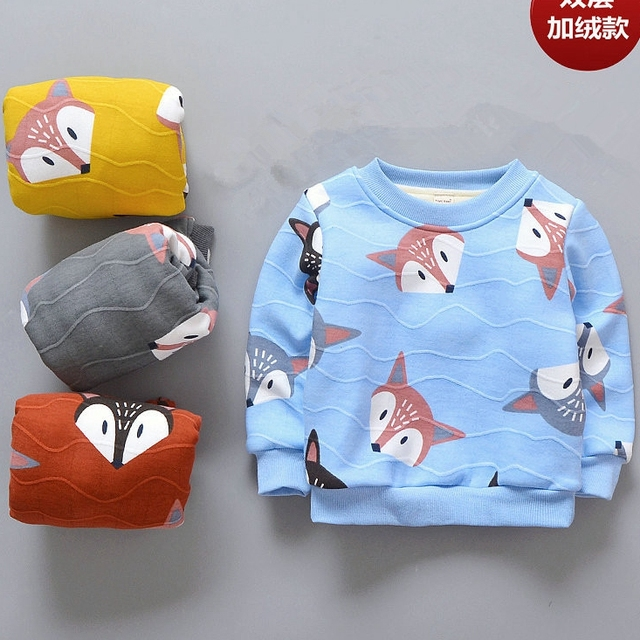 b42838a460cd Baby Toddler Kids Boys Girls Winter Spring Fox Print Velvet Double ...