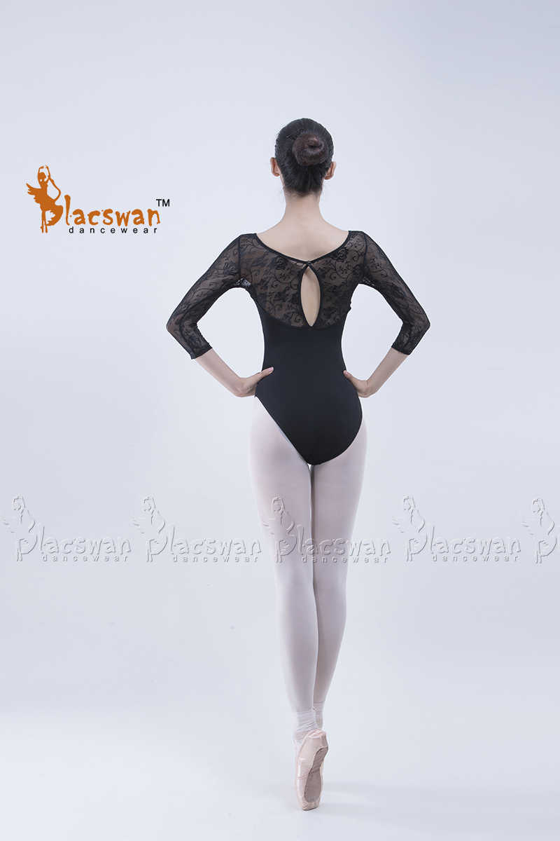 98e649e6e ... Girls 3/4 Sleeve Black Lace Leotard Ballerina white Lace Ballet Leotards  Adult Maroon Lace ...