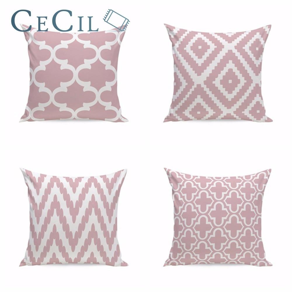 Творческий Розовый геометрический хлопок белье Чехлы Диван Ткань бросок наволочки Almohadones Decorativos для офиса наволочка