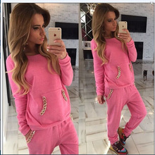 2016 New Candy Color O-neck Long-sleeve Plus Size Tracksuit Sweatshirt And Pant 2 Pieces  running Sets Women's Sets Sport Suit
