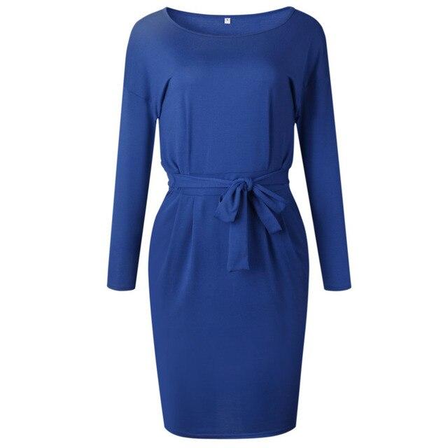 4d47d1271a4a VITIANA Women Elegant Work Office Dress Female 2018 Autumn Long Sleeve Black  Solid Knee-length Loose Casual Dresses Vestidos