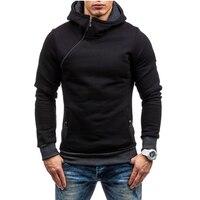 Mens Causal Sweatshirt Fashion 2017 New Baseball Jacket Zip Collar Zipper Decoration Hoodies Men Slim Fit