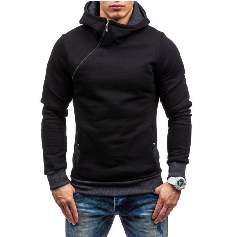 Mens Causal Sweatshirt Fashion 2017 New Baseball Jacket Zip Collar Zipper Decoration Hoodies Men Slim Fit