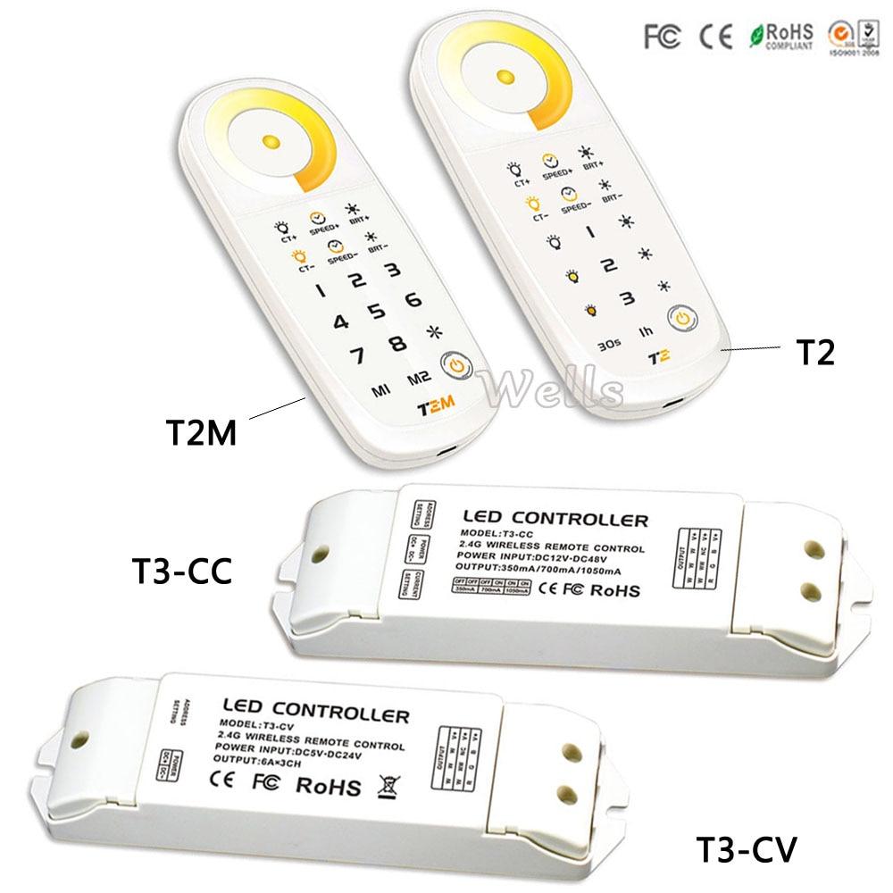 T3-CC/T3-CV receiver controller;T2/T2M Color temperature 2.4G wriess touch remote DC5V for led strip led panel light стоимость
