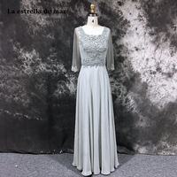 robe de soiree longue 2018 lace chiffon long sleeved Line silver gray evening dress long pretty cheap Arab Muslim abendkleid