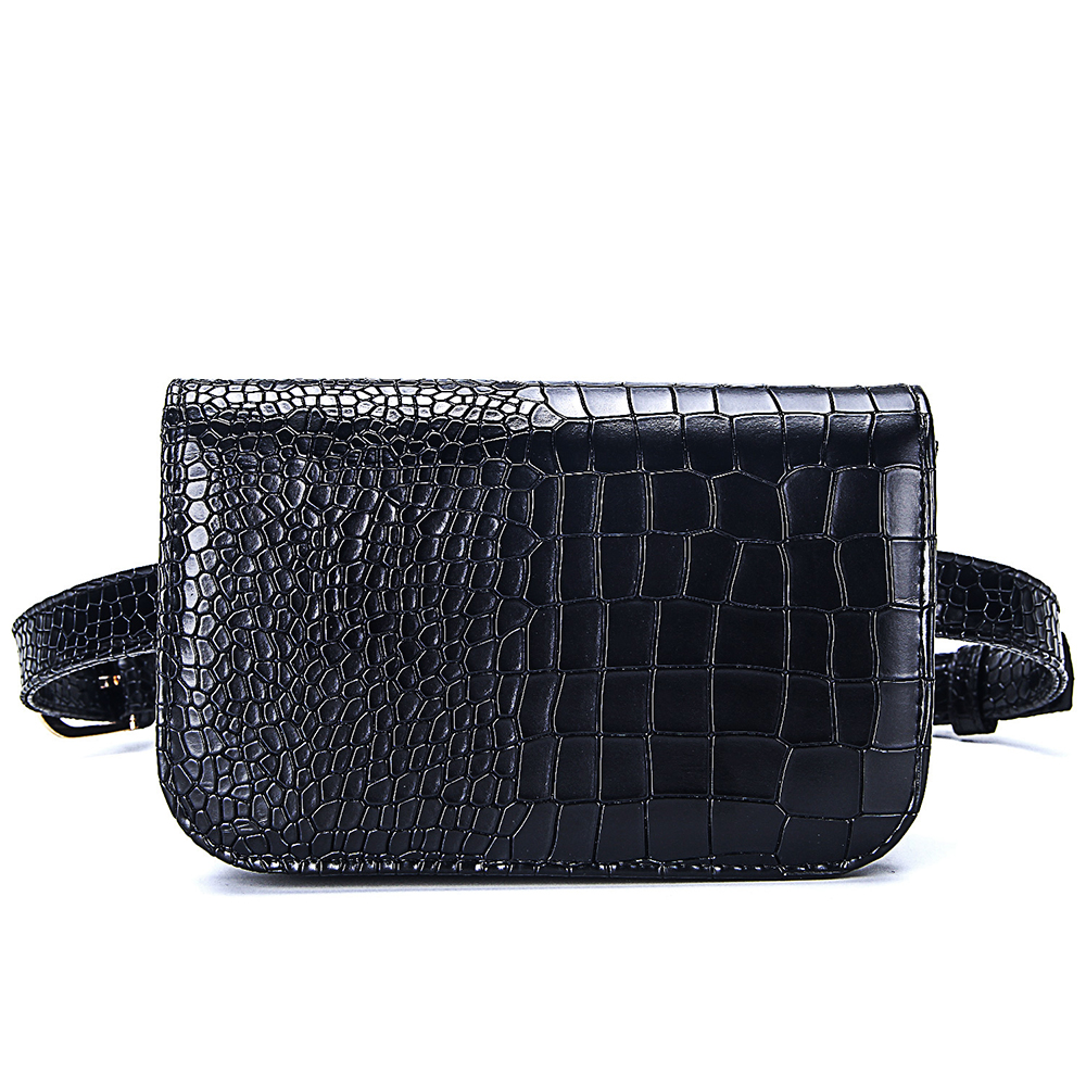 Vintage Waist Bag Women Alligator PU Leather Belt Bag Waist Pack Travel Belt Wallets Fanny Bags Ladies Fit 5.5 inches phones