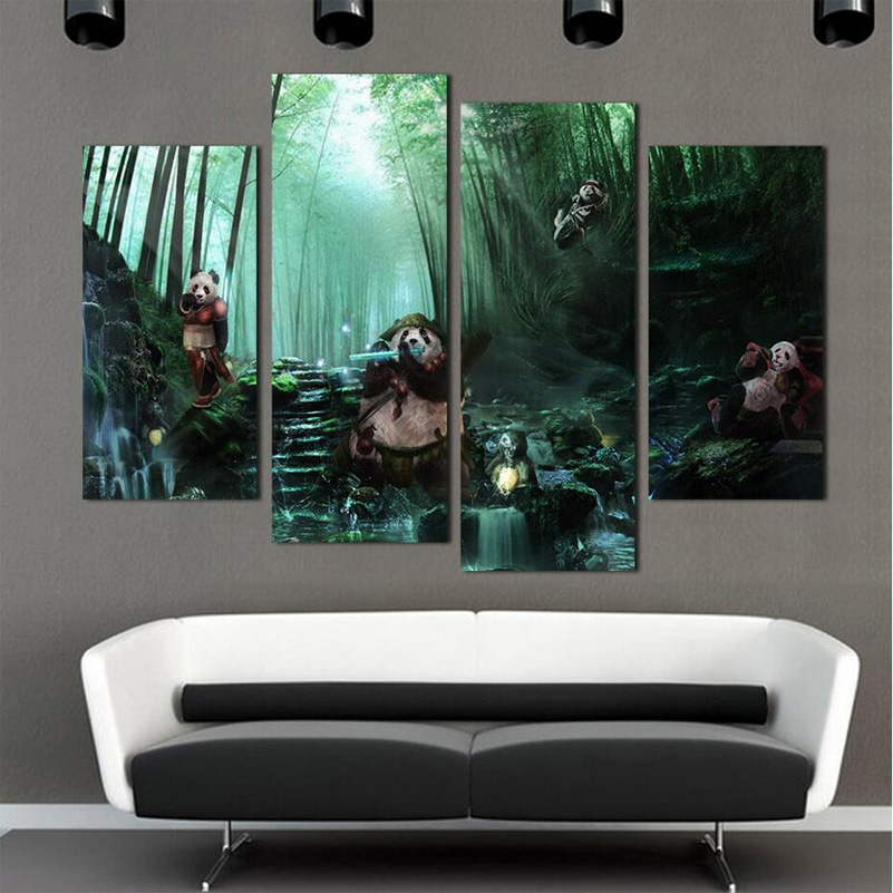 Green bamboo panda oil painting wall art home decoration for Art painting for home decoration