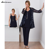 Modest Mother of the Bride Dresses Pant Suit with Lace Jacket Chiffon Tunic Three Pieces Mother of Groom Dress Formal Dark Navy