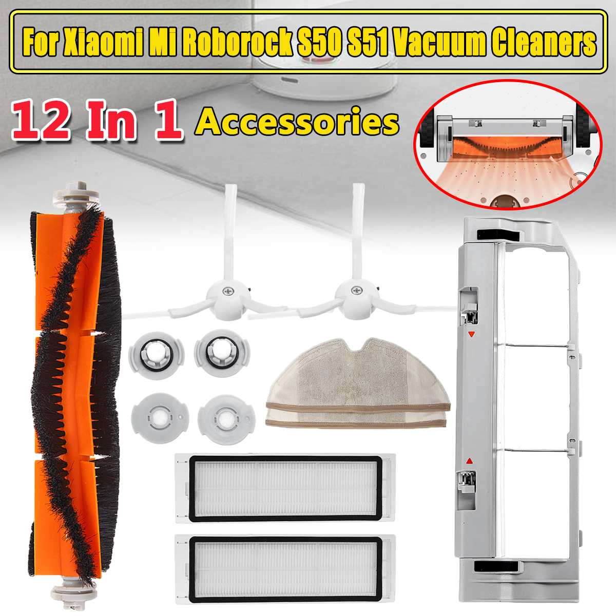Para Roborock S50 S51 S55 para Xiao mi mi Robot Vacuum Cleaner HEPA Filtro de Kits de Peças de Reposição Principal Escova Lateral escova Mop Panos