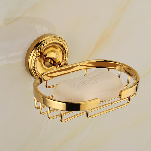 Usherlife Brass Gold Soap Dish Wall Mounted Bathroom Soap Basket Shower Soap  Dishes Holder Bath Hardware