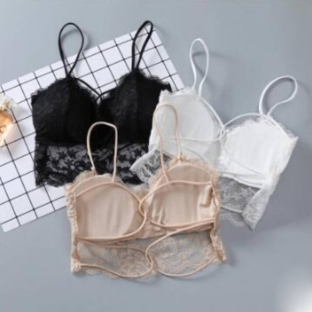 aafdc87c5fb Sexy Women Lace Cross Strap Wrapped Chest Bra Strap Vest Push Up Underwear  Bras Wireless Seamless Transparent Lingerie -in Bras from Underwear    Sleepwears ...