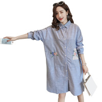 Womenswear Embroidery Cotton Maternity Shirt Dress Summer & Autumn Blouse Tops Clothes for Pregnant Women Pregnancy Clothing