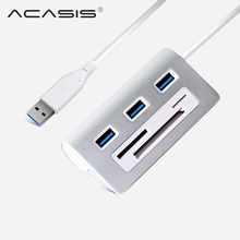 ACASIS HS0023 USB HUB High Speed Aluminum Usb 3.0 Hub 3 Port Power Interface TF SD CF Card Reader iMac PC for Macbook Air Pro La