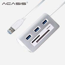 цена на ACASIS HS0023 USB HUB High Speed Aluminum Usb 3.0 Hub 3 Port Power Interface TF SD CF Card Reader iMac PC for Macbook Air Pro La