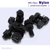 M6 10mm 30mm 6 Kinds 24pcs Nylon Thumb Screw Plastic Insulation Knurled Slotted Bolt DIY Fastener